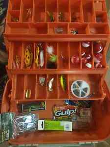 Tackle box with flies, wieghts, fake baits, lures bobs etc