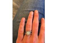Engagement ring. Diamond Wedding band. And solid band