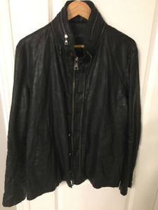 John Varvatos Waxed Linen Biker Jacket