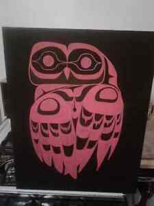 Owl gazing over it's shoulder painted by me.Acrylic on Canvas