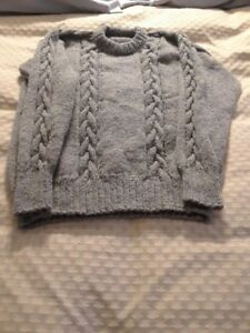 Hand knitted cable sweater