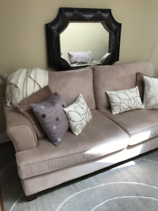 Almost like new! Easy care suede couch sofa and chair.