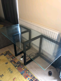 Glass Desk/Dining table and unfixed legs - £150 ONO