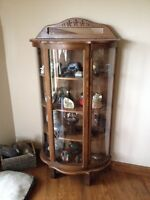 Wood bow glass hutch / china cabinet