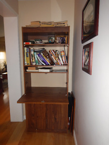 Storage bookshelf and fold down student desk