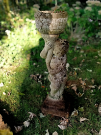 Beautifully weathered tall vintage cast stone plant pot stand