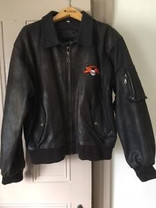 Harley Davidson Heavy Leather Jacket, Brown, Mens Large