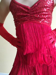 Red Shimmy Dance Costume