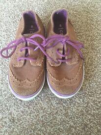 Boys brown suede brogue shoes