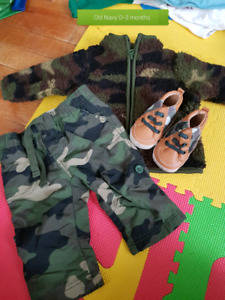 0-3 month camo outfit