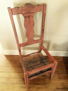 Shabby chic coral decor planter chair