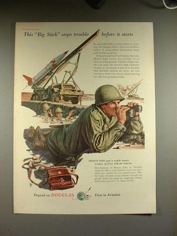 1956 Douglas Honest John Artillery Rocket Ad!