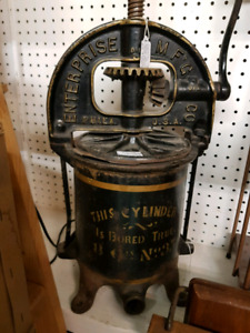Antique Enterprise Meat or Fruit Press grinder Awesome logos!