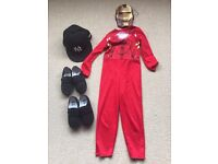 Age 3-5 years 'Iron man' outfit, 'NY' black cap size 53 cm and 2 pair of black school pumps.