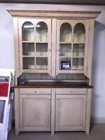 Arch Stepback Hutch with Barnboard Back  for sale