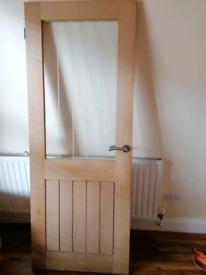 Oak veneer internal glass door