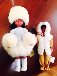 Inuit Dolls, Real Lamps Wool and Leather