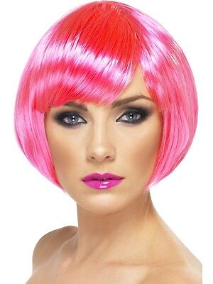 Womens Hot Pink Bob Wig Short Chin Length Babe Hair Halloween Costume Adult - Pink Hair Costume