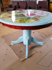 Beautiful Hardwood table 2chairs createdby Artist on special now