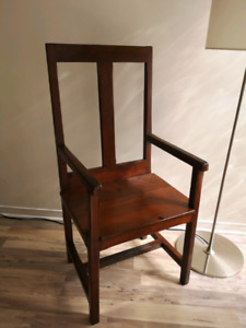 Antique pine monastery chairs x6