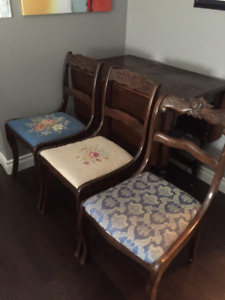 Antique drop leaf table with 3 chairs