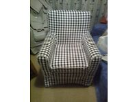 IKEA Jennylund armchair AND black/white check cover