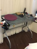 Glass drafting table