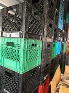 """Milk Crates-strong/stackable,12x11x11"""",black/green, Not4LP recod"""