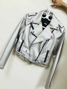 NEW- Ladies Metallic Faux Leather Jacket (Romeo+Juliet Couture)