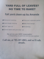 Offering Fall Yard Clean Up- Reasonable Prices