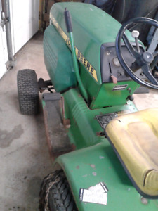 John Deere 214 tractor, blower, mower, rototiller and chains
