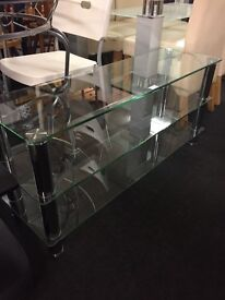 Long glass TV stand