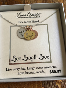 Brand New Fine Silver Plated Live Laugh Love Necklace