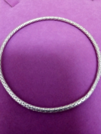 LADIES SLIM, SOLID SILVER, BANGLE. IN TWISTED ROPE DESIGN
