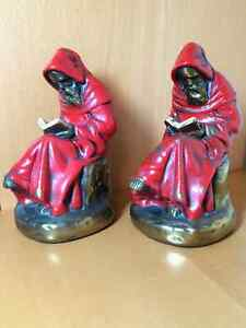 Pair of Vintage Armor Bronze Red Robed Monk Bookends Windsor Region Ontario image 1