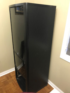 Tall Media Unit with Frosted Glass (black) and drawers