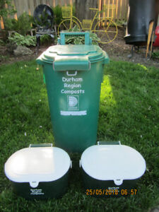 1 Large and 2 Small Green Compost Bins - Good Condition - Oshawa