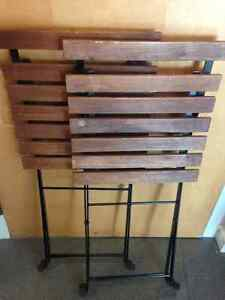 2 solid wood slat folding chairs Downtown-West End Greater Vancouver Area image 1