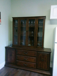 Antique, solid wood dining room display cabinet