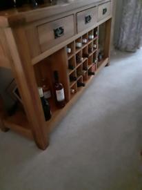 M&S solid oak sideboard with wine rack