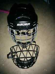 Ringette cage, helmet and stick