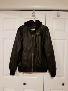 GUESS, Faux Leather Jacket Bomber Style, Medium