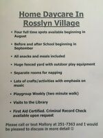 Home Daycare - Rosslyn village