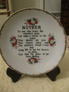 "PRECIOUS OLD VINTAGE 7.5""  ROUND CHINA PLATE DEDICATED to MOTHER"