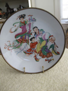 STUNNING OLD VINTAGE CHINESE BRASS-CASED SHALLOW BOWL