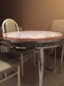 retro collectible round table with chrome legs and trim, chrome