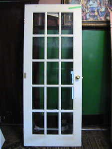 antique 1930s solid wood & glass French style 15panel Door