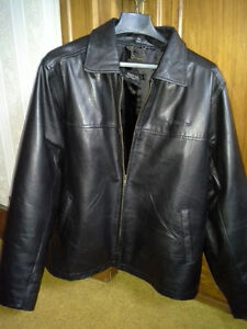 BLACK GENUINE SOFT LEATHER JACKET, INSULATED