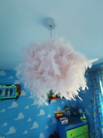 Baby pink feather lampshade lighting