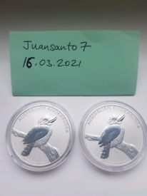 2x 1oz 2010 Australian Kookaburra silver bullion coin